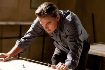 Leonard DiCaprio at the end of Inception
